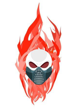 flames vector: Skull protective mask against a backdrop of flames. Vector artwork for tattoos Illustration