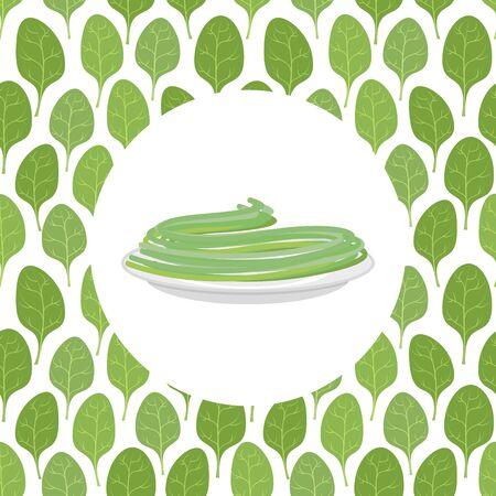 spinach: Espagueti espinaca Hojas de espinaca en el fondo. Ilustraci�n vectorial de pasta.
