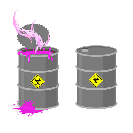 radioactive tank and warning sign: Barrel with Biohazard. Grey barrel with pink radioactive liquid. Chemical waste from production. Vector illustration open container.