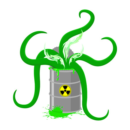 barrel radioactive waste: Barrel of Toxic waste and green tentacles. Vector illustration of a Biohazard container. Gray radioactive barrel