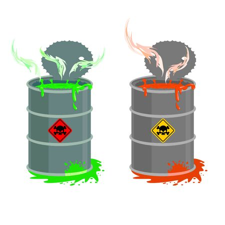 radioactive tank and warning sign: Barrel of toxic waste. Biohazard open container. Grey with red barrel of radioactive liquid. Green acid emerged. Vector illustration Illustration