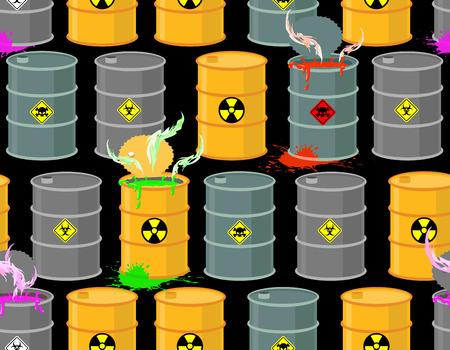 sustancias toxicas: Biohazard sin patrón. Barricas abiertas de sustancias radiactivas y tóxicas. Peligro de muerte. Ilustración del vector. Vectores