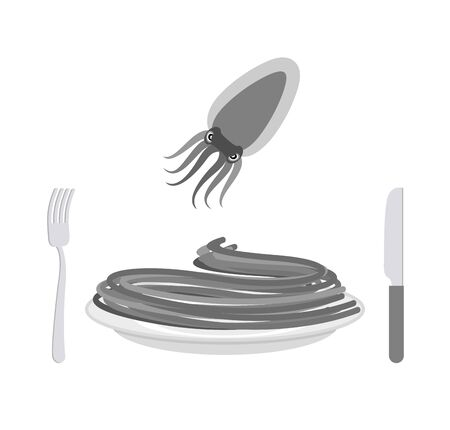 delicatessen: Black pasta with cuttlefish ink ingredient. Spaghetti on a plate. Vector illustration of delicatessen food Illustration