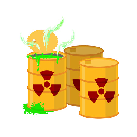 Yellow barrel with a radiation sign. Open container of radioactive waste. Green spilled acid. Vector illustration