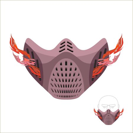 maniac: Protective sports mask. Scary Monster mask or maniac with fire. Vector illustration
