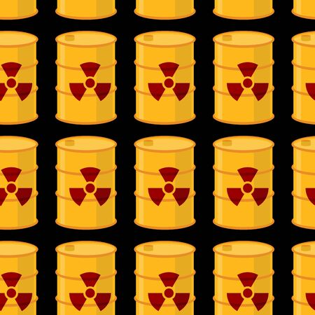 toxic waste: Yellow barrels of radioactive substance seamless pattern. Vector background of toxic waste.