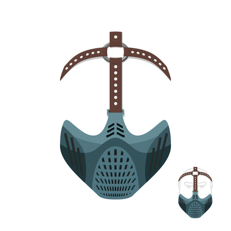 horrible: Horrible mask BDSM with leather straps. Protective helmet for sports. Vector illustration muzzle
