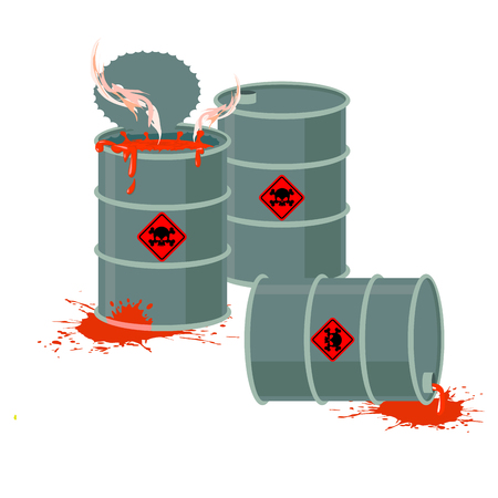 toxic: Barrels of Red acid. Hazardous chemical waste. Vector illustration containers with toxic liquid