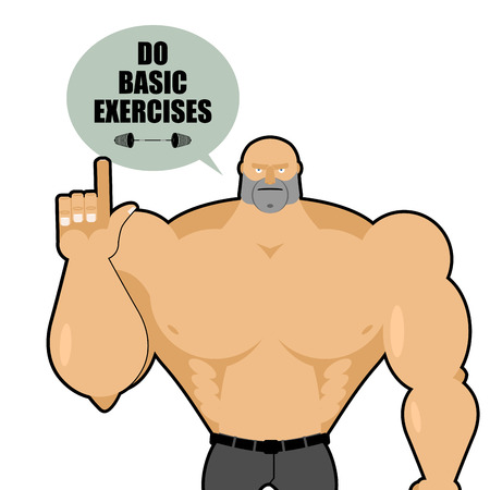 tip up: Big strong man raised his finger up. Bodybuilder makes a gesture of attention. Athlete gives a tip: Do basic exercise. Poster for sports. Vector illustration