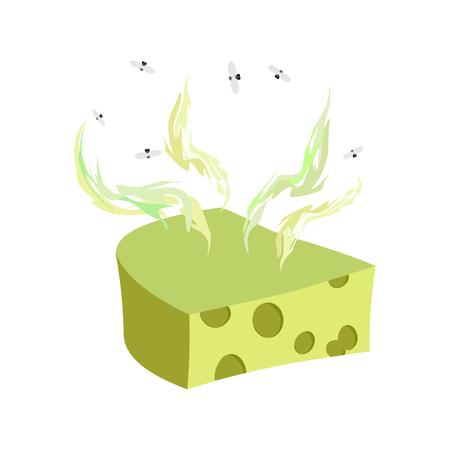 illustration of food: Dorblu queso. Pedazo de queso con un mal olor y las moscas. Vector ejemplo de la comida delicadeza Vectores