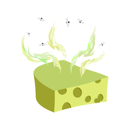 Cheese dorblu. Piece of cheese with a bad smell and flies. Vector illustration food delicacy Illustration