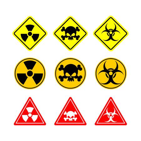 peligro: Set signo de riesgo biológico, toxicidad, peligroso. Señales amarillas de varias formas: círculo, cuadrado y triángulo. Vectores