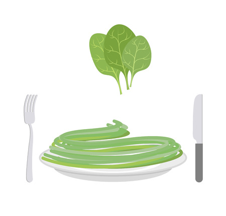 delicatessen: Green pasta with ingredient spinach. Spaghetti on a plate. Vector illustration of delicatessen food