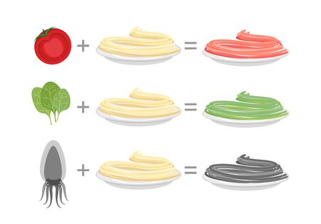cuttlefish: Assorted color pasta. Spaghetti and spinach-green paste. Spaghetti and tomato-red paste. Cuttlefish ink spaghetti and black pasta. Vector illustration of food on a plate. Illustration