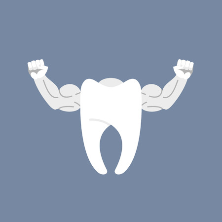 Strong healthy tooth. White clean tooth with big muscles. Logo for dentist clinic.
