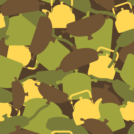 camoflage: Military texture of kitchen utensils. Camouflage army seamless pattern from pots, pans and roasters. Soldiers seamless background for soldier canteen and cook.