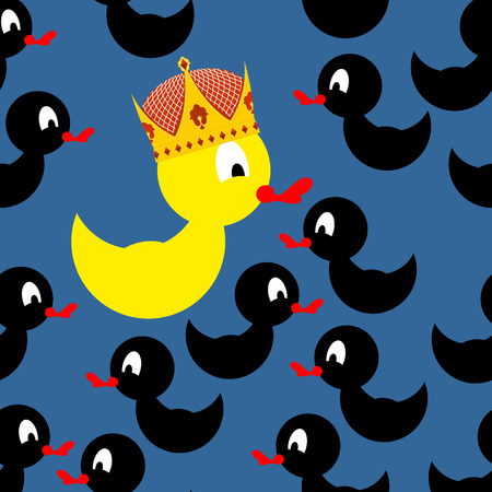 against: Yellow rubber duck in Crown. Black Duck around a yellow duck. At home among strangers. Vector illustration Illustration