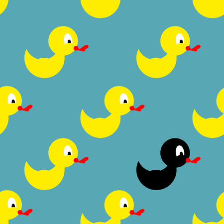 duck toy: Childrens rubber toy for bathing. Yellow Duck seamless pattern. Vector background toy. Black Duck among yellow ducks.