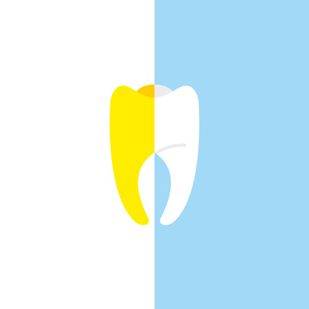 Vector illustration for bleaching teeth. Half white, half tooth teeth yellow.