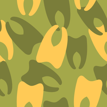 camoflage: Military camouflage from teeth. Dental army texture for clothing. Protective seamless pattern.