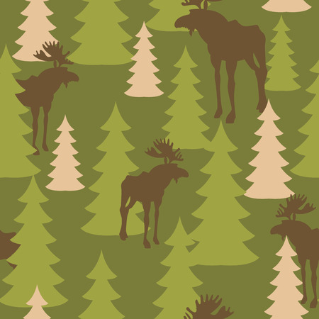 Army pattern of deer and forest. Military camouflage texture Vector Moose and trees. Hunter protective seamless pattern.