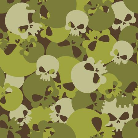 Militaire textuur van schedels. Camouflage leger naadloze patroon van het hoofd skeletten. Enge naadloze achtergrond voor soldaten.