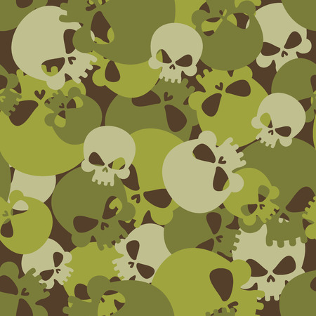 Military texture of skulls. Camouflage army seamless pattern from head skeletons. Scary  seamless background for soldiers. Иллюстрация