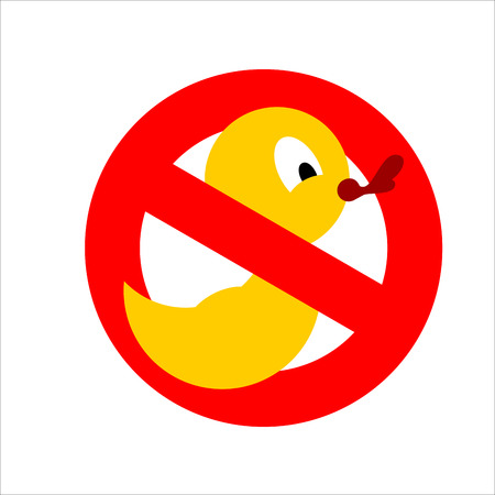 quack: Banning sign. Yellow rubber duck for bathing crossed. Dont quack. You cannot bathe Illustration