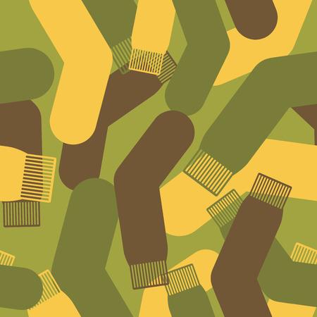 soldado: Patrón Ejército de calcetines. Militar Vector textura de camuflaje calcetín. Soldado patrón transparente protectora. Vectores