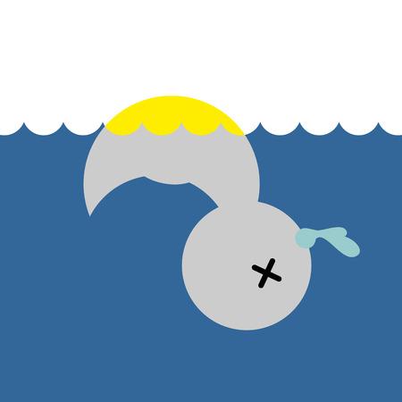 dead duck: Dead rubber duck. Childrens toy in water. Vector illustration