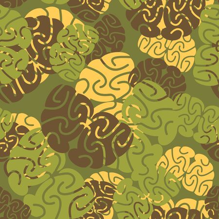 brainstem: Military texture of brains. Camouflage army seamless pattern of brain. Soldiers seamless background for intelligent, scientific soldier. Illustration