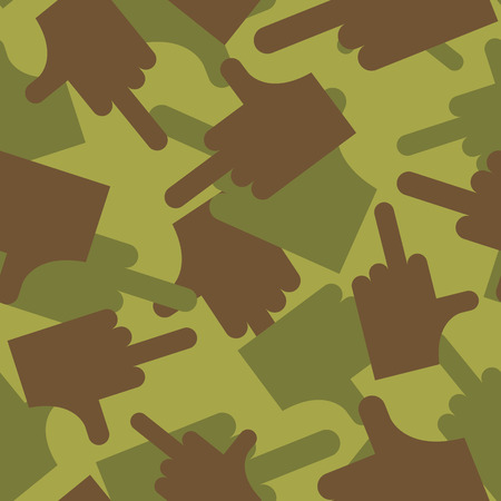 middle: Army pattern to fuck. Military camouflage texture Vector hand with finger- fuck. Hunter, soldiers protective seamless pattern for bullies.