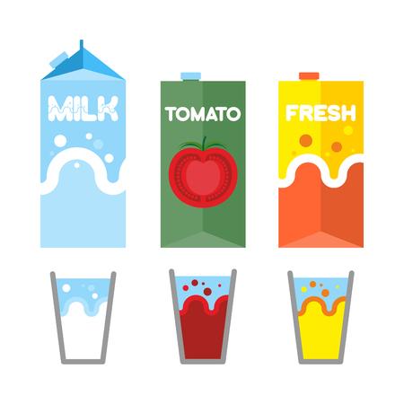 tomato juice: Set drinks in package. Milk, tomato juice, and fresh. Glasses for drinks. Vector illustration Illustration