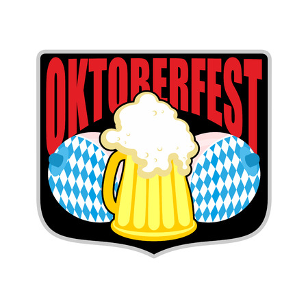 boobs: Sign for Oktoberfest. Women boobs and mug of beer. Symbols Beer Festival in Germany.