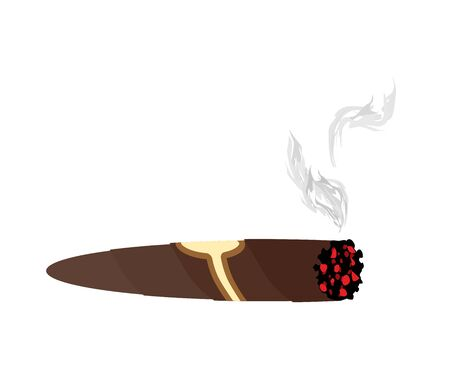 Cigar and smoke on a white background. An expensive Cuban cigar vector illustration