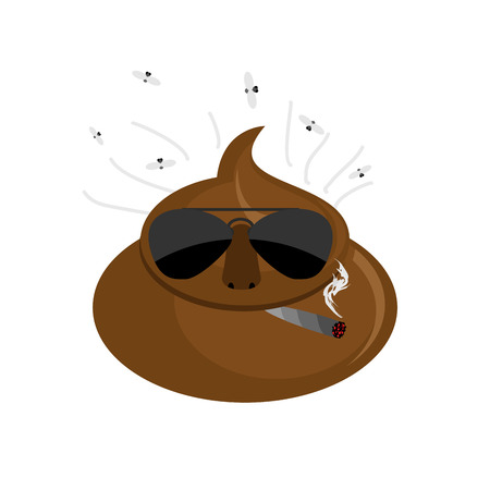 dog poop: Serious  Shit. turd in dark glasses and cigar.