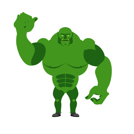 fantastic creature: Angry Green Monster. Scary Goblin big and strong on a white background. Fantastic, fantastic creature