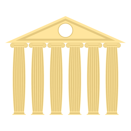 doric: Greek temple with columns and roof. Vector illustration of ancient architecture.