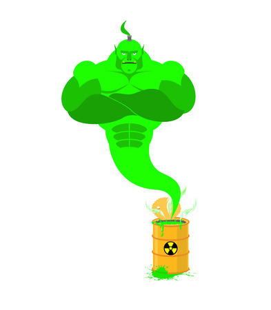 jinn: Acid Genie of barrels of toxic waste. Green Magic spirit. Vector illustration