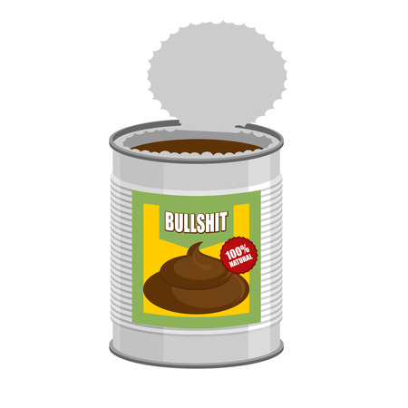 Unsinn: Bullshit. �ffnen Sie eine Dose mit Schei�e. Unsinn an der Bank. Vektor-Illustration