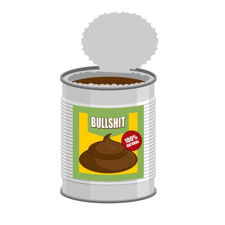 toro: Bullshit. Abrir una lata de mierda. Tonter�as en Banco. Ilustraci�n vectorial