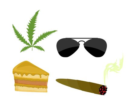 piece of cake: Set of drugs. Accessories addict. Marijuana and cannabis. Sunglasses and a piece of cake. Vector illustration Illustration