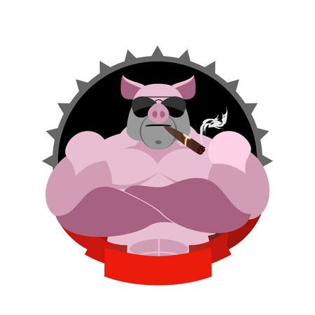 jabali: Cerdo fuerte en vidrios y con un cigarro. Logotipo para Sports Club. Animales de granja con los músculos grandes. Logo Jabalí
