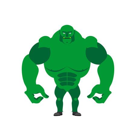 bald: Duende Verde sobre un fondo blanco. Monstruo fuerte con manos grandes. Ilustración del vector del duende libro de cuentos