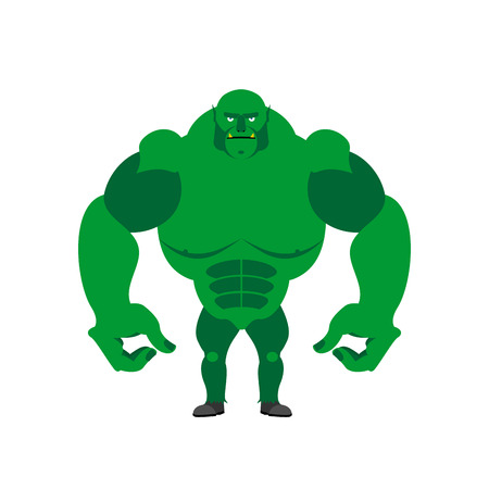 troll: Green Goblin on a white background. Strong monster with large hands.  Vector illustration of storybook troll