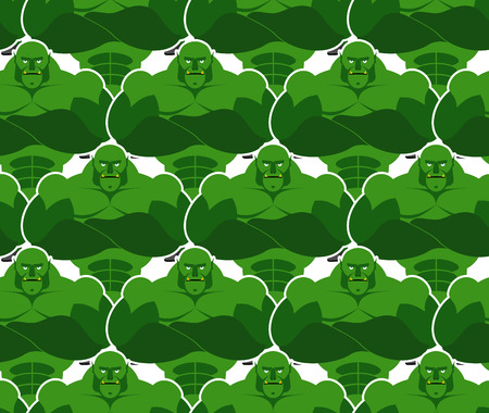 goblins: Green monsters seamless pattern. Evil and powerful Goblins. Vektor background of monsters