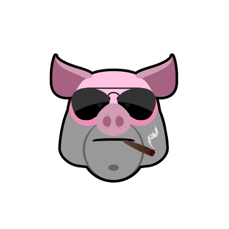 animal head: Angry boar. Pig head with glasses and a cigarette. Animal farm is a bully. Logo of the animal.
