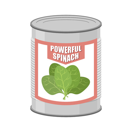 Powerful spinach. Canned spinach. Canning pot with lettuce leaves. Delicacy for vegetarians. Vector illustration Çizim