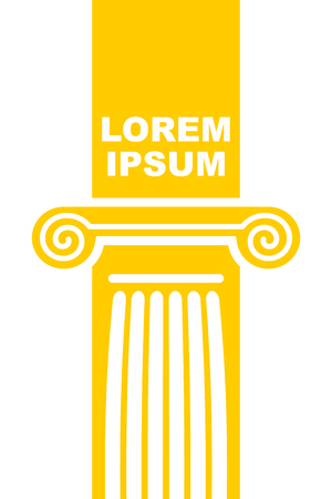 greek columns: Architectural logo. Element of Greek columns capital. Vector emblem