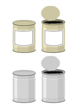 デザイン テンプレート錫。ブリキ缶を開きます。白い背景の上にすず。ベクトル図